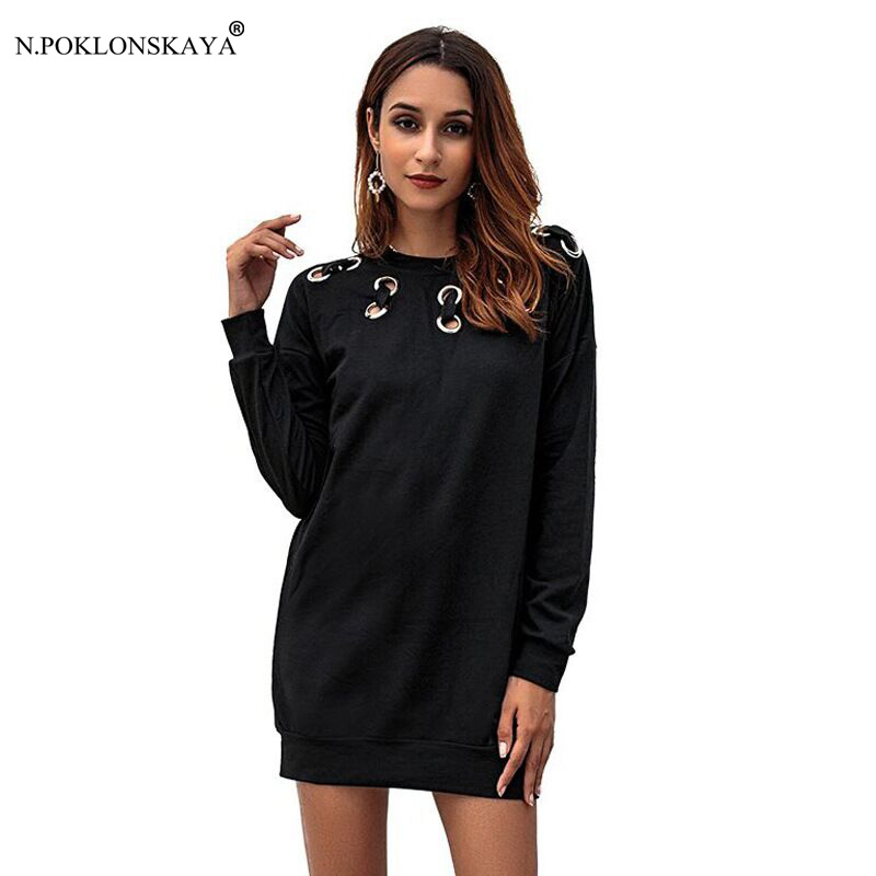 N.POKLONSKAYA 2018 Women Autumn Dress Hollow out Long Sleeve Short Mini Dresses Female Loose Solid Color Casual Black Dress