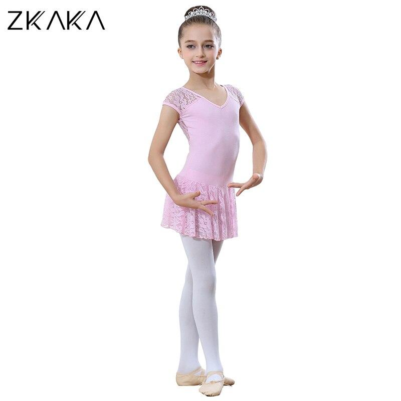 ZKAKA justaucorps pour filles à manches courtes costume collants s Costumes de Ballet Performance pratique porter des vêtements de danse