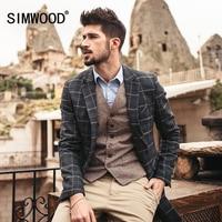 SIMWOOD 2017 New autumn winter casual blazer men fashion slim fit plaid pattern overcoat XZ6108