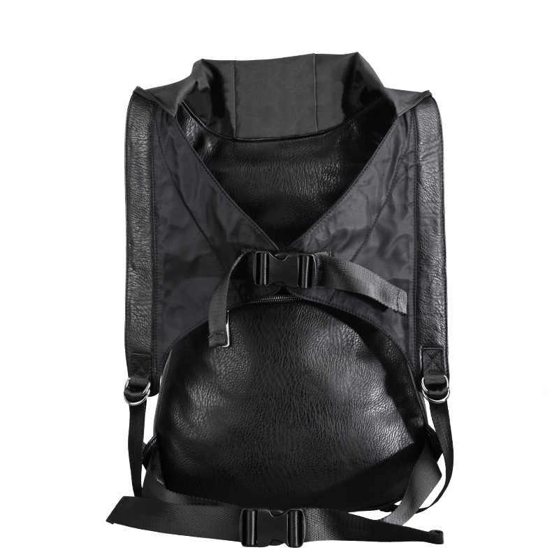 새로운 2019 패션 성격 3d 해골 가죽 배낭 후드 모자 의류 가방 크로스 가방 힙합 남자와 해골 배낭을 rivets