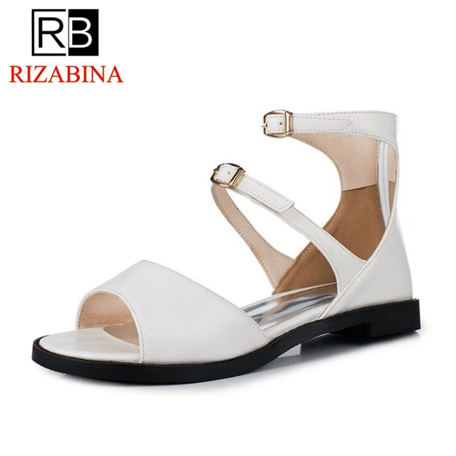 45397e8d674 RIZABINA Size 32-47 Gladiator Women Flats Sandals Ankle Strap Peep Toe  Flats Sandals Summer Beach Chic Shoes Women Footwears