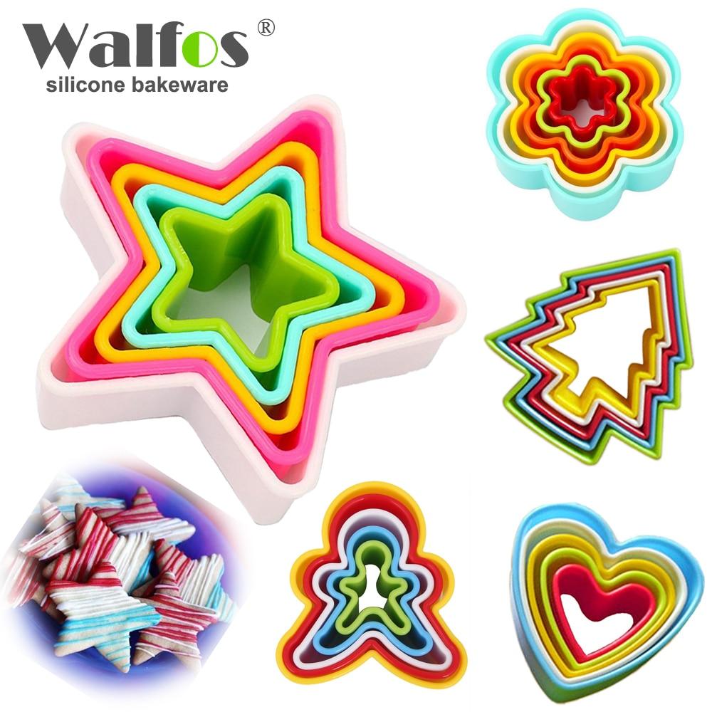 WALFOS 1 dəsti Kukilər kəsici dilim çərçivəsi tort diy qəl qəlbi forma dekorasiya kənarı kəsici tərəf plastik peçenye hazırlayan xəmir alətləri