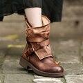 Mulheres cabeça camada de couro botas de zíper lateral botas meia botas de salto baixo fivela do cinto botas cavaleiro casuais 1592-1