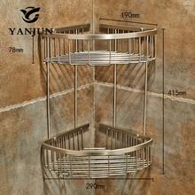 Yanjun 304 Нержавеющая сталь матовая угловая полка для душа Caddy аккуратный держатель для ванной комнаты Аксессуары для ванной комнаты YJ-7522