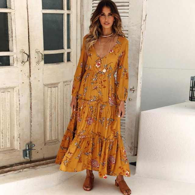 12a230b20edcd BOHO INSPIRED 2018 autumn women dress yellow floral print V-neck long  sleeve bohemian dress buttons front maxi dress vestidos