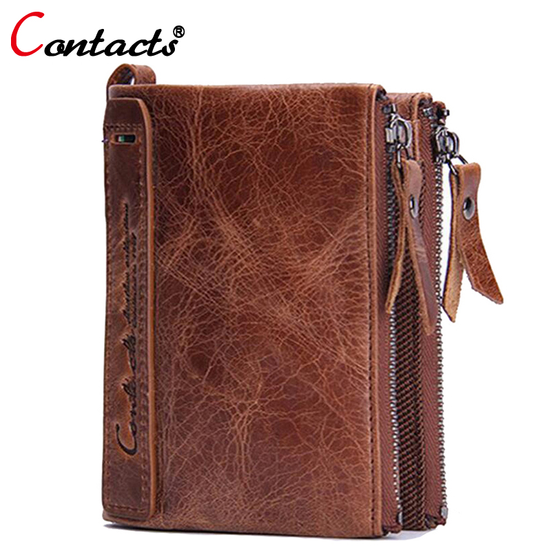 CONTACT'S Genuine Leather Men Wallet Coin Purse Card Holder Organizer Zipper Small Clutch male Bags travel Walet Money Bag purse men wallet male cowhide genuine leather purse money clutch card holder coin short crazy horse photo fashion 2017 male wallets