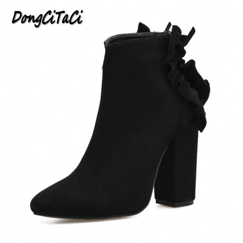 DongCiTaCi Autumn Winter Women Ankle Short Boots Shoes Woman Fashion Back Butterfly-knot Thick Heels Solid Color Women Boots autumn and winter short cylinder boots with high heels boots shoes martin boots women ankle boots with thick scrub size35 39