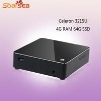 Soarsea Mini Computer Pocket PC Intel Nuc Celeron 3215U 4GB Ram 64GB SSD 4K HD HTPC