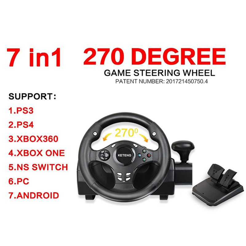 270 Degree Racing Steering Wheel Controller Pedal Driving Like Real For PS4/PS3/Xbox one/Xbox 360/Nintendo Switch/PC/Android mobile phone