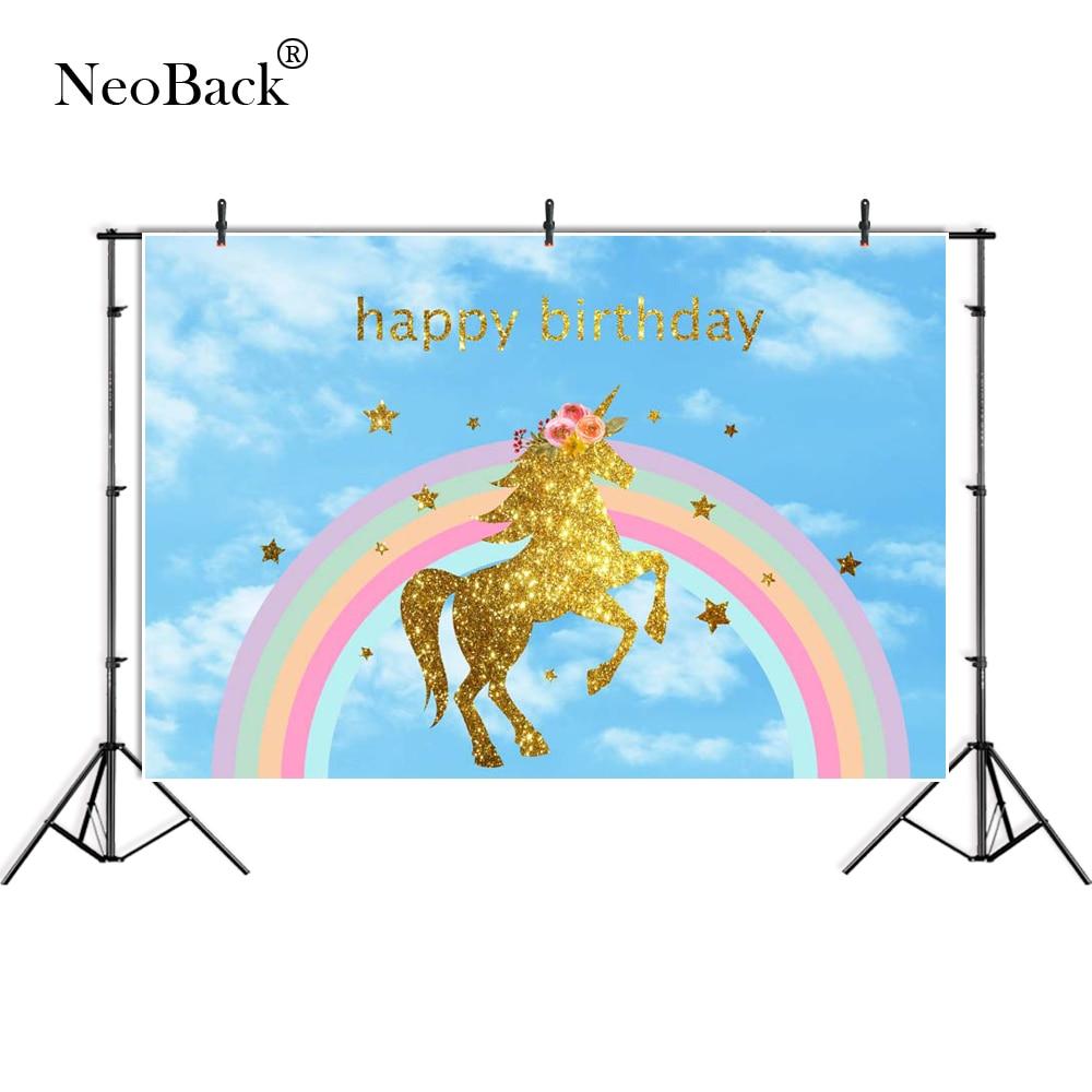 210X150cm Rainbow Sky Gold Unicorn Vinyl Photo Background Photography