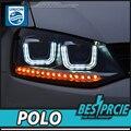 UNIÃO Estilo Do Carro para VW Polo 2011-2015 Faróis Volks Wagen Novo Polo LEVOU Farol Cruiser drl Lens Duplo Feixe H7 HID Xenon