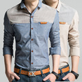 Spring 2016 Slim Long Sleeved Men's Shirt Casual Men Swear Brand Denim shirt Casual Men Clothes Chemise Homme Size M--5XL