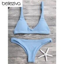 Belleziva New Sexy Bikinis Women Swimsuit Solid Bathing Swim Suit Bikini Set Swimwear Biquini Beachwear Maillot De Bain 9 Colors