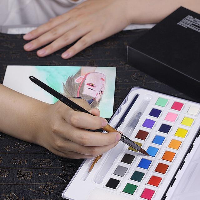 12 pinceaux de peinture en nylon brosse boîte de fer artiste pinceaux ensemble pour aquarelle huile acrylique peinture à la gouache 2