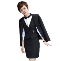New Blue And Black Long Sleeved Uniform Style Professional Women Suits Office Business Navy Formal Ladies