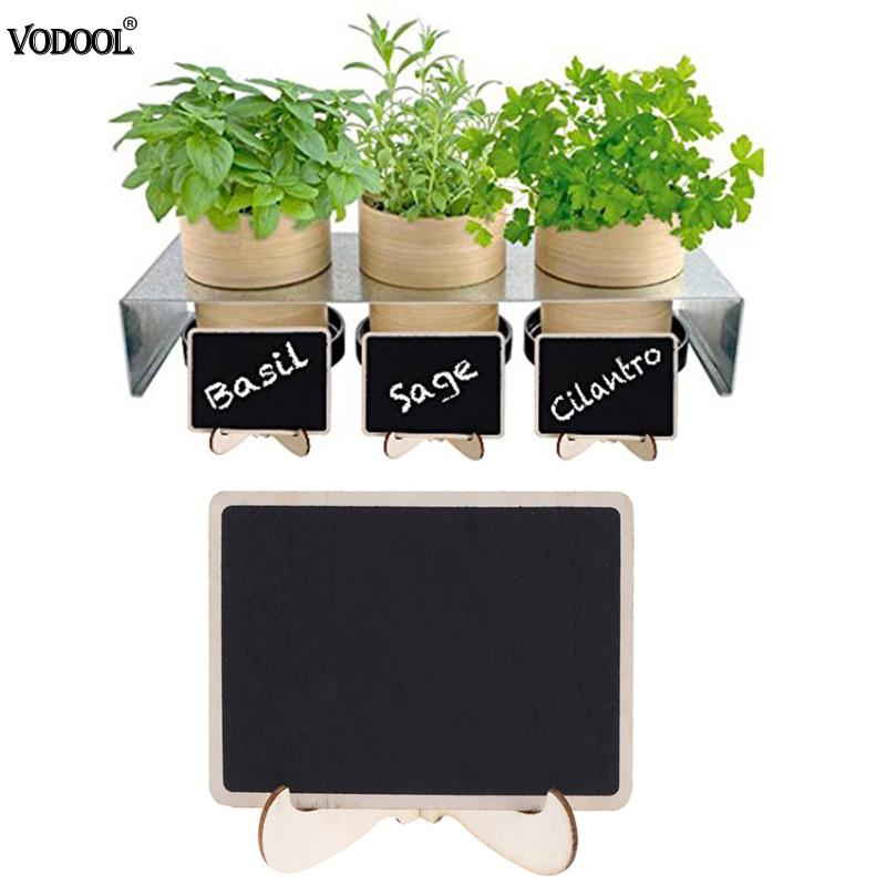 VODOOL Fine Mini Wooden Chalkboard Stand Message Boards Clips Blackboard for Wedding Party Coffee bar 10pcs mini retangle wood blackboard stand wedding party wooden tag black board chalkboard party office school supplies