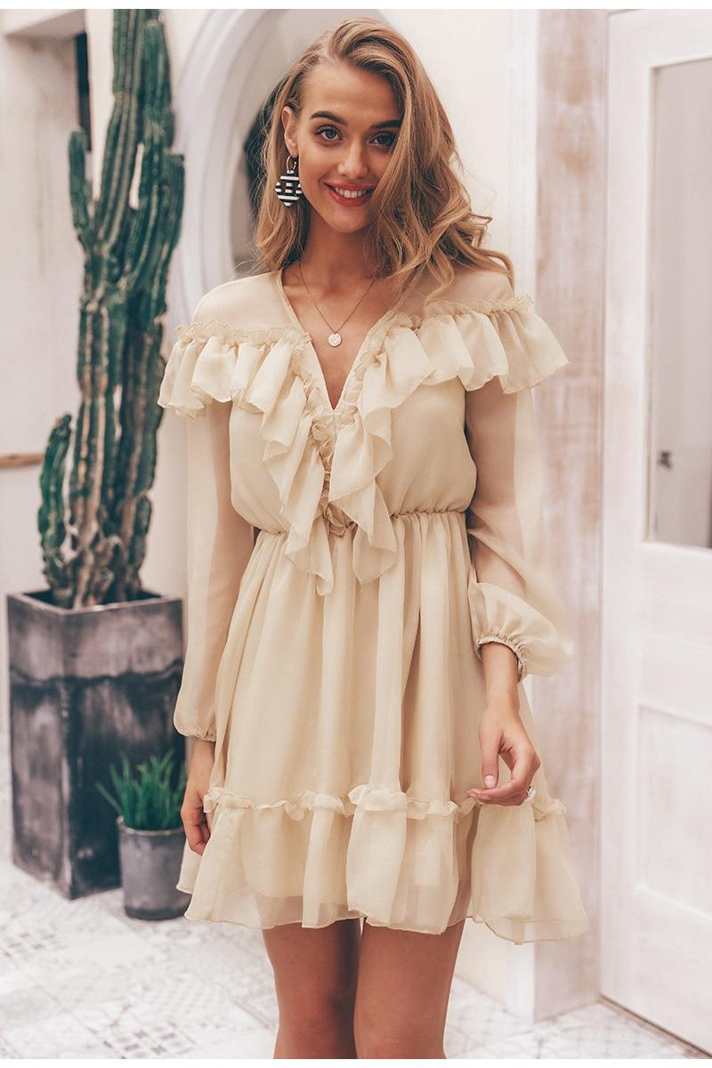 Sexy v neck ruffle women dress Elegant long sleeve mesh lining summer party dress