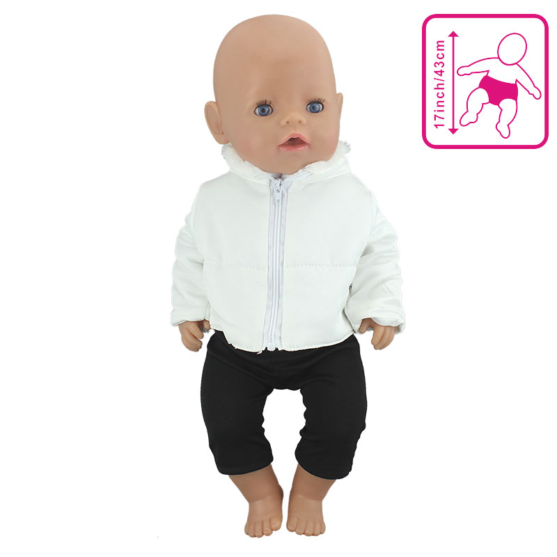 2Pcs In 1,  Sale Doll Clothes Suit Fit 43cm  Baby Doll Doll Warm Jackets+Pants And Doll Accessories Children Best Gift