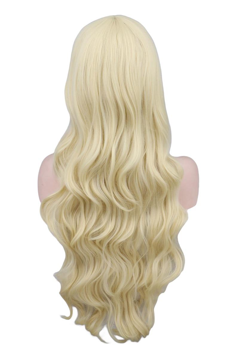 QQXCAIW Lång Vågig Cosplay Svart Lila Vit Röd Rosa Blå Blond - Syntetiskt hår - Foto 2