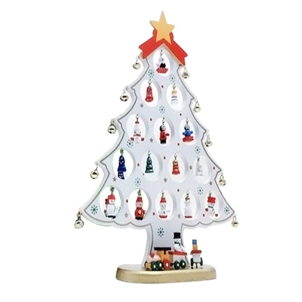 Christmas Wooden Tree Table Decorations Mini Xmas Wood Desktop White Christmas  Ornaments Jingle Bells Train Adornos