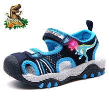Dinoskulls Baby Boys Sandals Light Up Mesh Kids Shoes Summer 2019 LED Children's Beach Shoes PU Leather Casual Toddler Shoes
