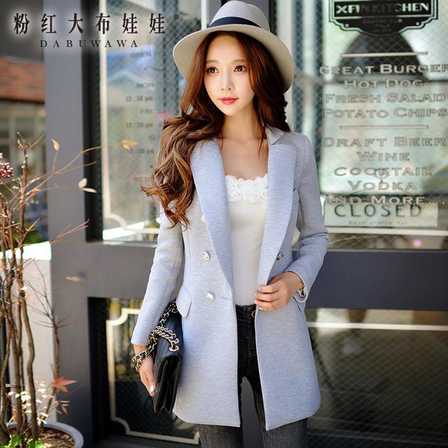 Dabuwawa casaco feminino outono inverno tamanhos grandes botões de slim moda casual cor sólida cinza mulheres blazer rosa boneca
