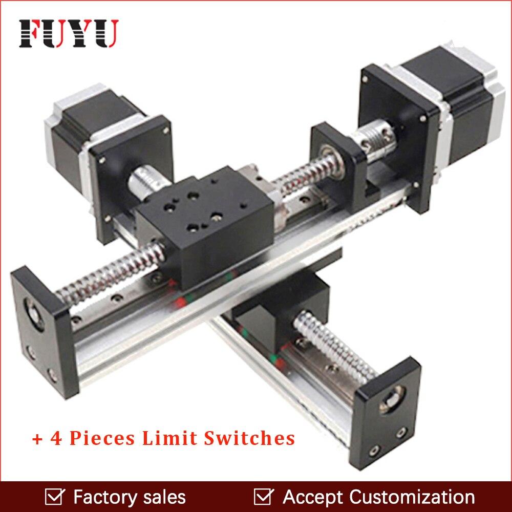 Robótico braço mesa linear atuador linear trilho de guia da haste do parafuso da esfera para cnc 300*300 milímetros XY motion módulo partes motorizadas kits roteador