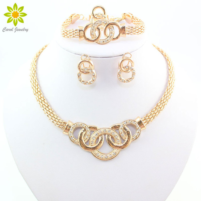 Fine Jewelry Sets African Beads Collar Statement Necklace Earring Bracelet Ring
