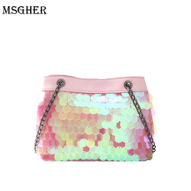 M.S Shining Color Sequined Small Bucket Handbags Sweet Hasp Women Top Casual Crossbody Bags Mesh Patchwork Leather Handbag WB468