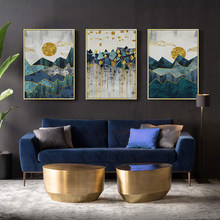 Sale Nordic Abstract Geometric Mountain Wall Art Painting Golden Sun Art Poster Print Wall Picture for Living Room Decoration(China)