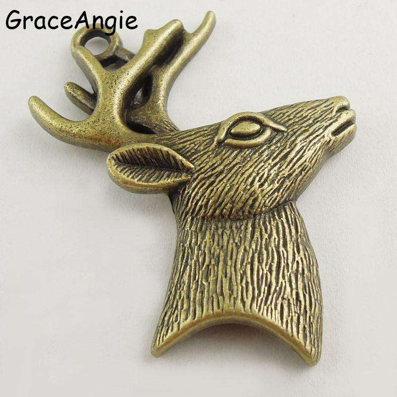 Free shipping 5//10pcs Retro style deer head alloy charms Pendants 51x38mm