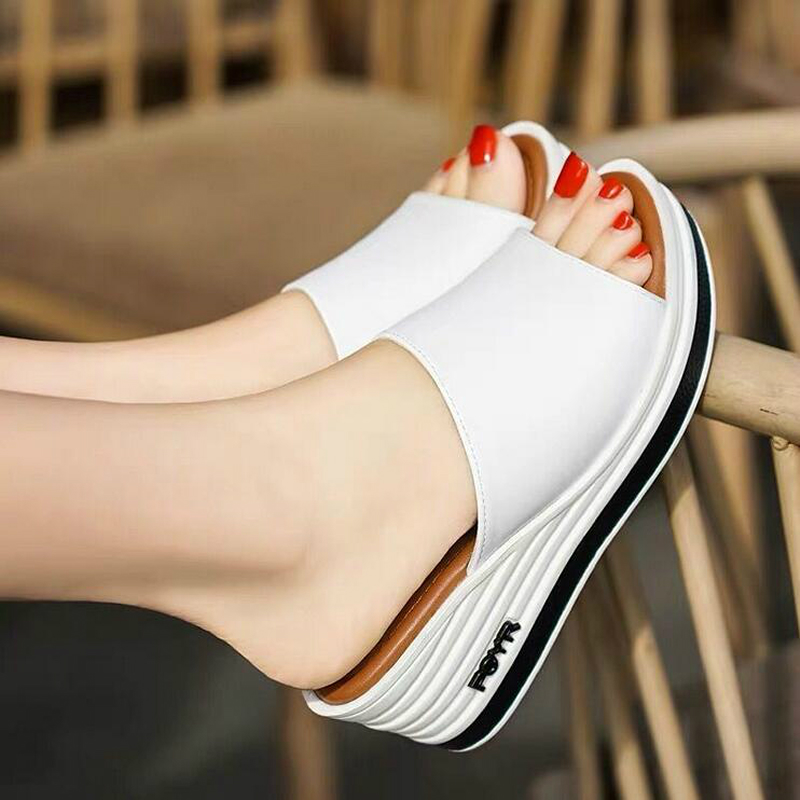 2019 Female Slippers Summer Fashion Wear Room With All-match Muffin Bottom Slope Sexy Thick Soled Sandals Tide Shoes Woman W02