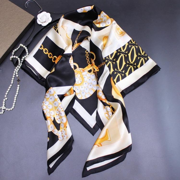 Real Silk Satin Square Scarf Women Luxury Shawl Head Scarves Wraps Foulard Leopard Jewelry Pattern 110