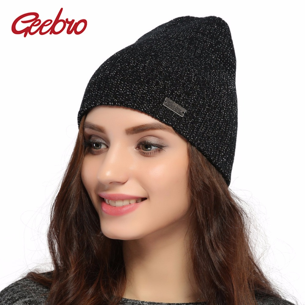 Geebro Women's Knitted Beanies Hat Winter Warm Acrylic Hat Ladies beanie Hat Silver Metallic Color Knitted Skullies Beanie JS292