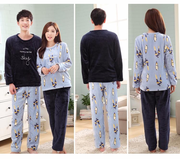 пеньюар дома пару пижамные комплекты коралловый флис пижамы любитель зимних вниз и флис фланелевые пижамы