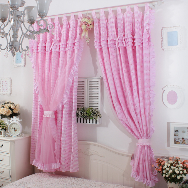 Princes pink base red rose Ruffle Curtain Window treatment ...