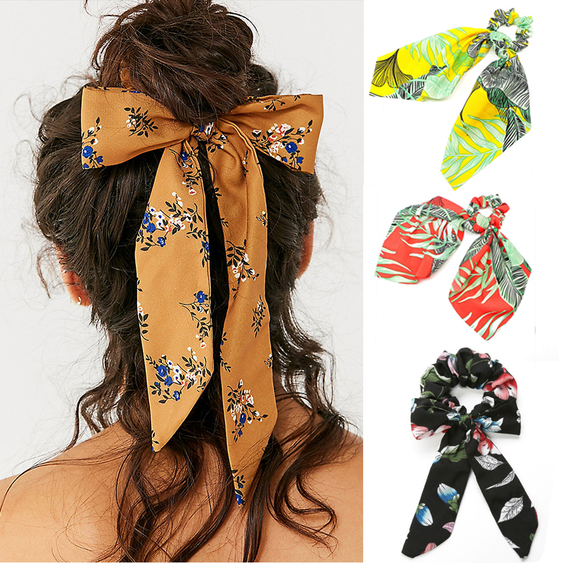 New Bow Streamers Hair Bands Flower Printed Ribbon Hair Ring Scrunchies Horsetail Tie Solid Headwear Hair Accessories