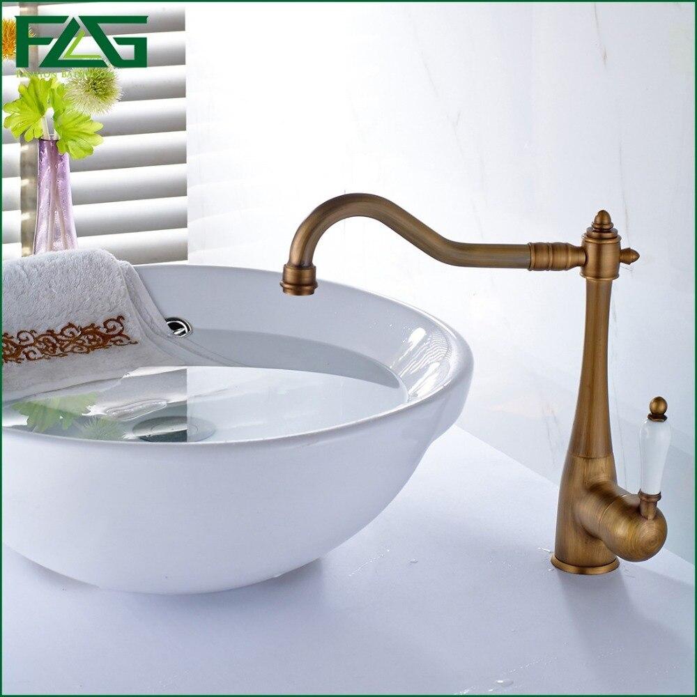 FLG Basin Faucet Antique Brass Bathroom Basin Sink Faucet,Single ...