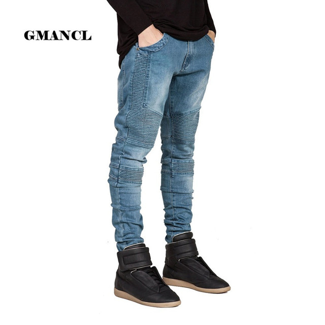 771f1bf3715 Streetwear Men Skinny Biker Jeans homme Men's fashion Motorcycle Moto Hip  hop Denim Pants Joggers Runway Slim Elastic JEANS