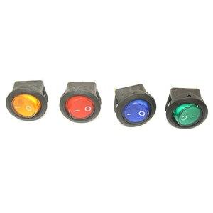 Image 2 - 100PCS 3 פין 4.8mm מסופי 12V 24V 220V האוניברסלי LED מואר רכב כפתור אורות על/OFF מתג עגול