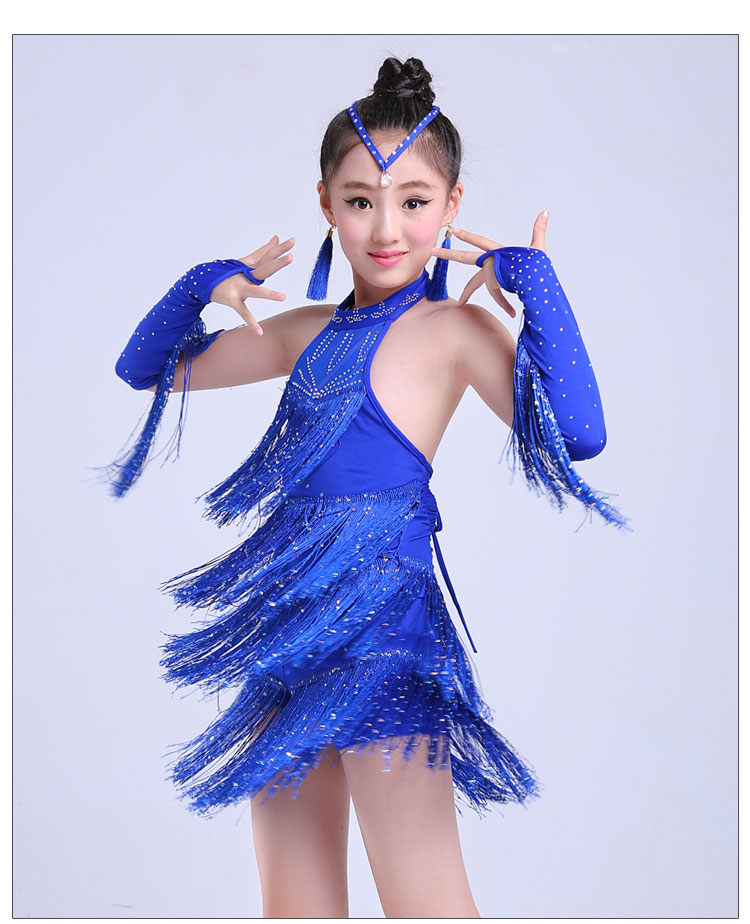 Children's Latin dance costumes girls Latin dance skirt fringe sequins fashion show womens samba dance dresses