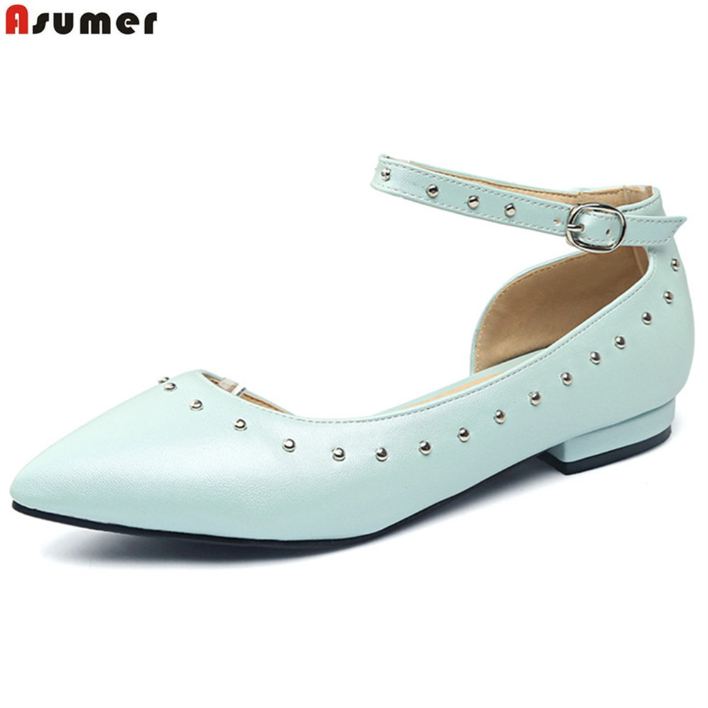 ASUMER pink beige blue fashion spring autumn ladies flat shoes pointed toe buckle casual women flats big size 33-43 hot sale 2016 new fashion spring women flats black shoes ladies pointed toe slip on flat women s shoes size 33 43