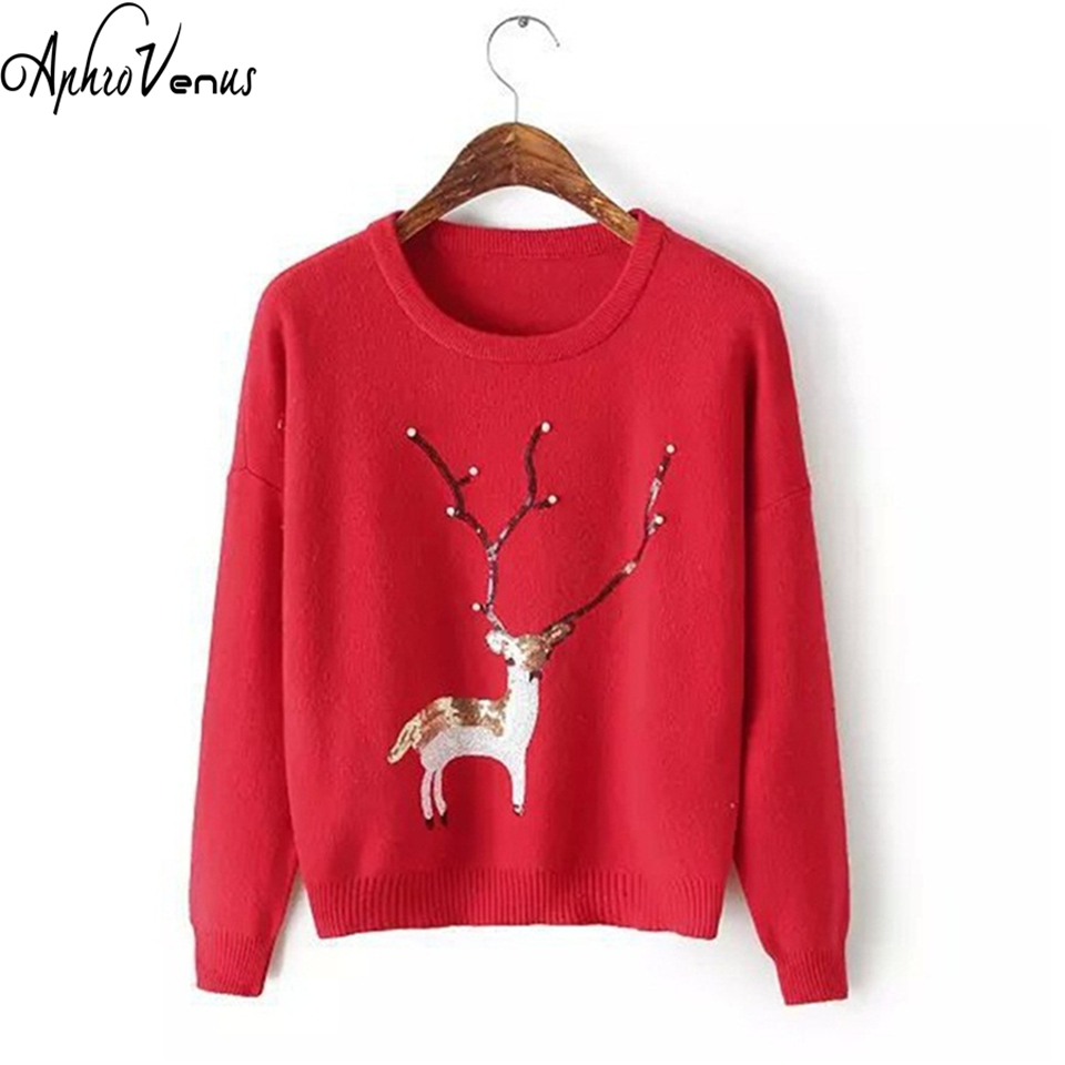 Women Sweater Winter Pullover Christmas Deer Pearl Sequins long Sleeve Jumper Sweater Tops Casual Sweater Warm Winter Knitted