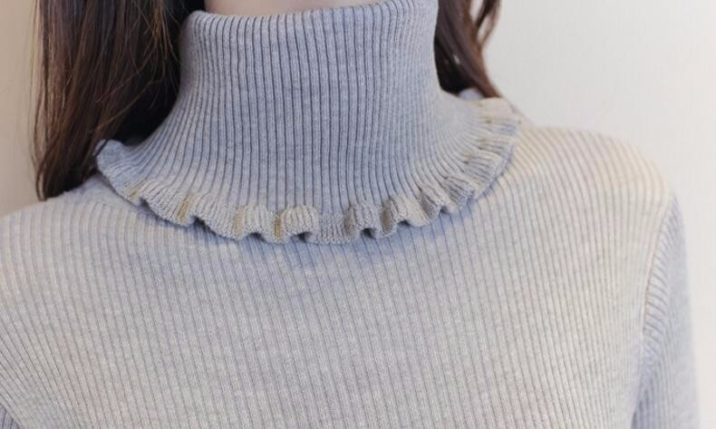 New Ruffle Neck Sweater Dress Women 2019 Fashion Turtleneck Knitted Tops Elastic Sexy Bodycon Pullovers Solid Sweater Dress 1097