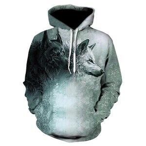 Image 4 - 2018 nowe bluzy z kapturem wolf męska bluza z kapturem jesienno zimowa bluza z kapturem hip hopowa bluzki w stylu Casual markowa 3D głowa wilka bluza z kapturem bluza Dropship