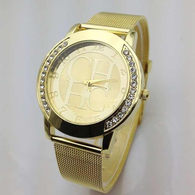 Reloj Mujer חדש מפורסם מותג זהב דוב מתכת Mesh מקרית נירוסטה קוורץ שעון נשים קריסטל שמלת שעונים שעון חם relogio