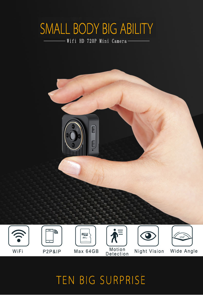 Wifi IP Mini Camera Wireless HD 720P Infrared Micro Camcorders IR Night Vision CAM Portable Recorder Sport Outdoor DV newest ir cut camera 1080p mini full hd camera micro infrared night vision cam motion detection dv spied cameras
