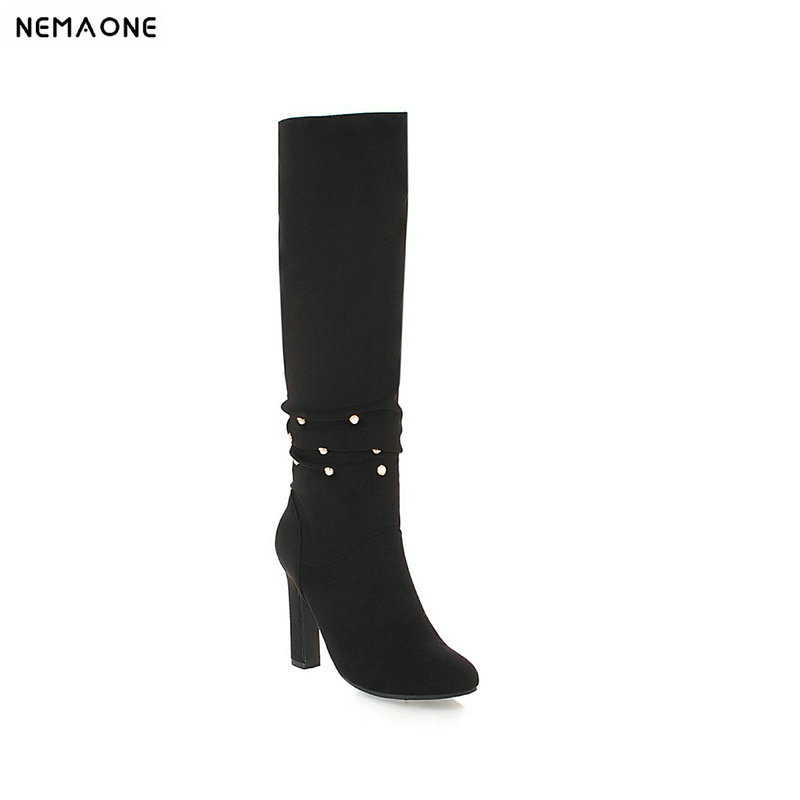 NEMAONE New high heels women boots sexy knee high boots woman black gray apricot party dress shoes woman large size 42 43 new sexy women boots winter over the knee high boots party dress boots woman high heels snow boots women shoes large size 34 43