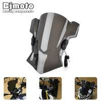 BJMOTO Universal Motorcycle Windshield Fit 7/8 22mm 1 25mm 28mm Handlebar Motorbikes MT 07 FZ 09 R6 FZ1 Street Bike Windscreen