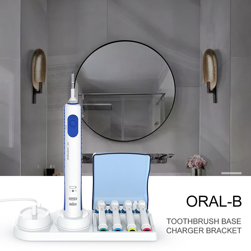 Electric Toothbrush Free Stand Charger Replacement Head Holder with a lid safe and clean For Braun Oral-B image